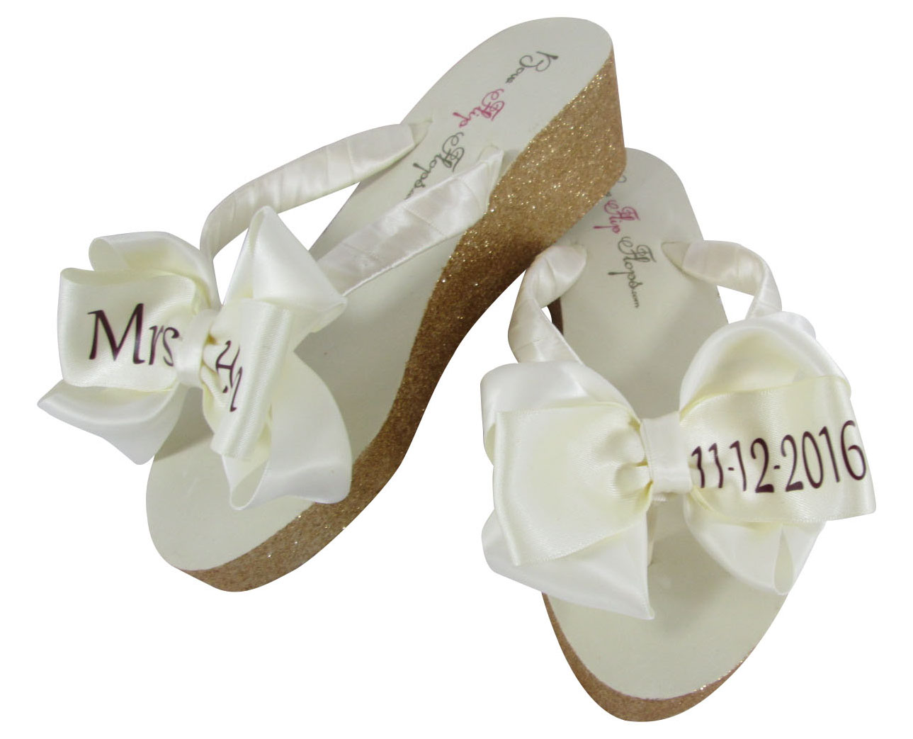 17b8c98198bf0 Wedding Flip Flop for the Bride with Bling