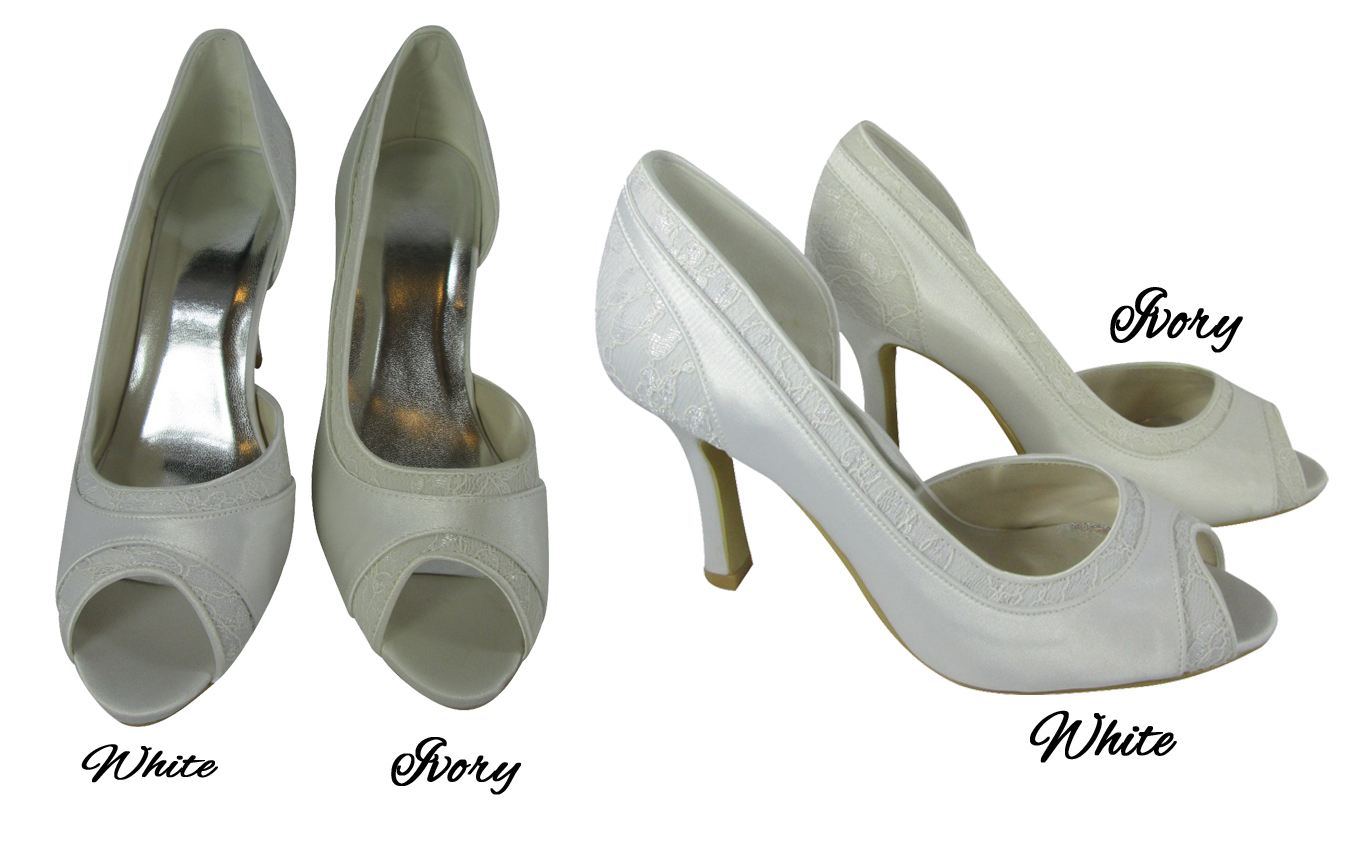 08f6b6be701e Personalized Wedding High Heels for the Bride Peep Toe Designs are  available in white or ivory in our 3 heel heights. Strappy ankle strap  designs are ...