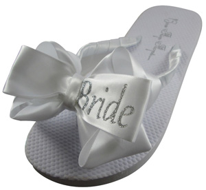 Bride Glitter Bow Wedding Flip Flops