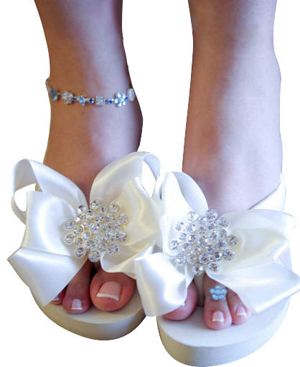 Large Jewel Bridal Flip Flops