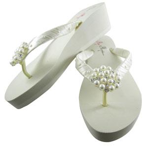 Bridal Flip Flops Bride Bridesmaid Wedding Shoe Wedge Ivory