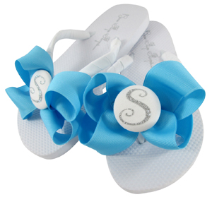 Personalized Button Bow Flip Flops