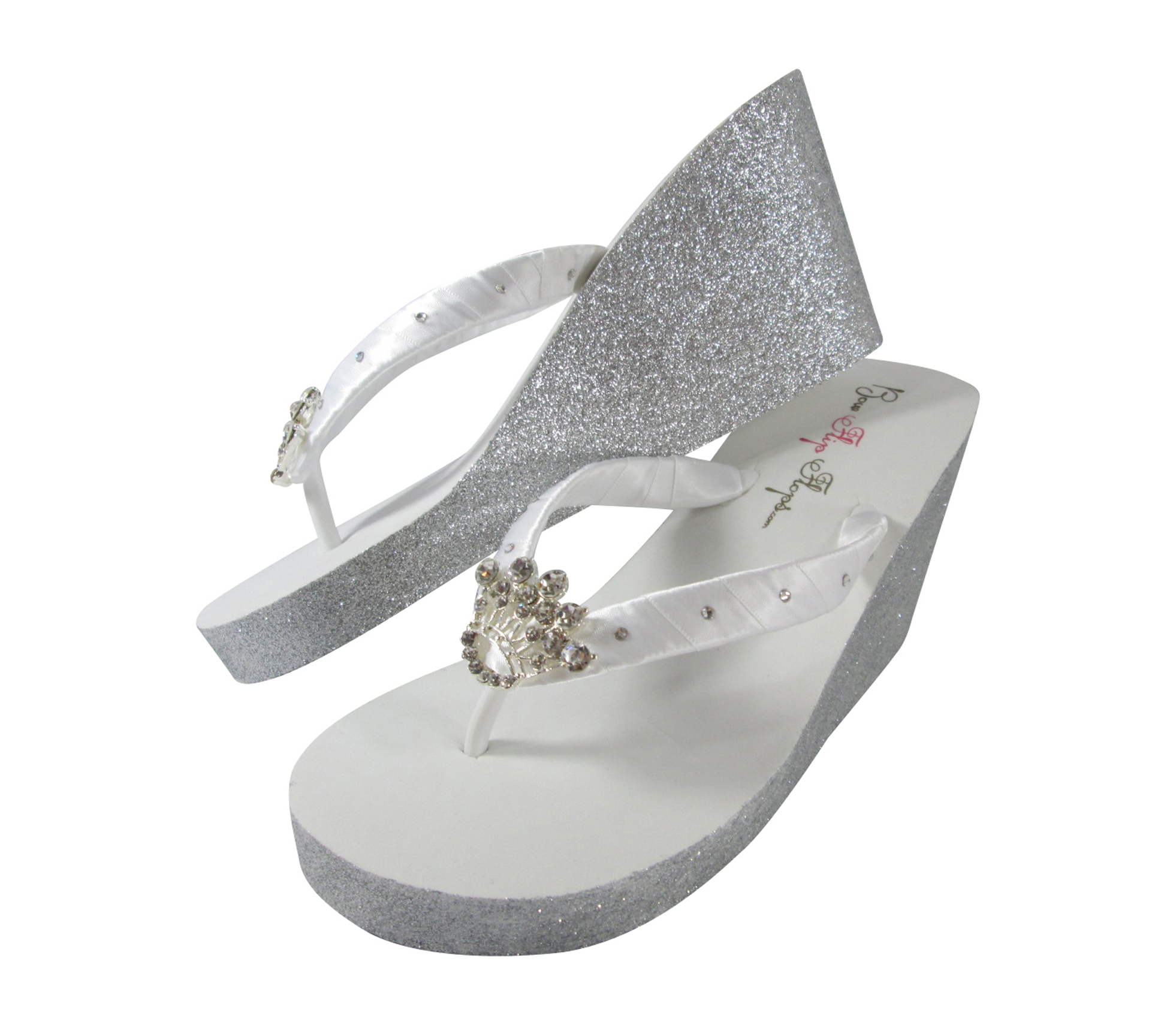 Wedding Flip Flop For The Bride With Bling Glitter Sparkles