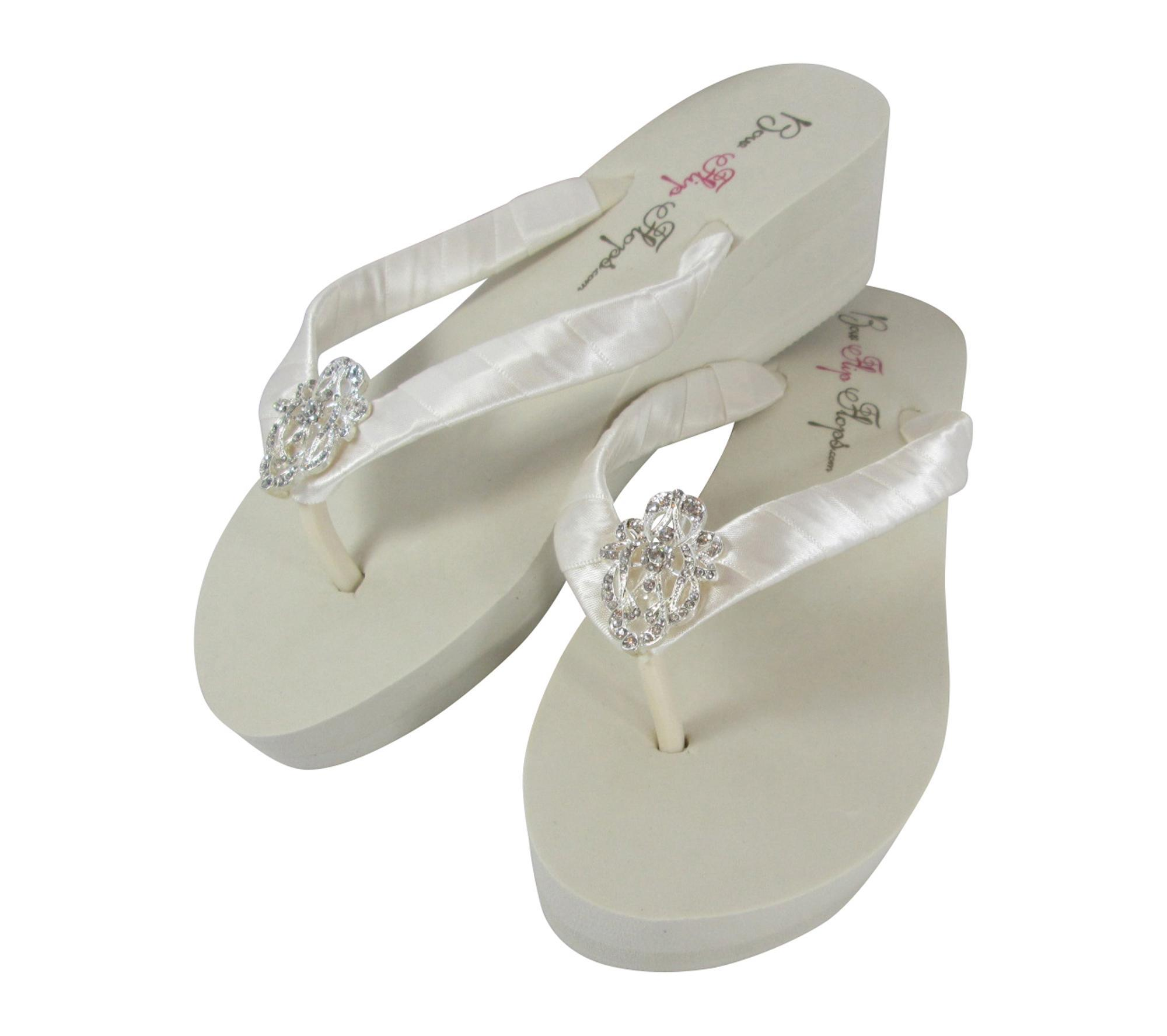 8fa3d046276d09 Bridal Flip Flops with Vintage Flower   Lace Embellishments
