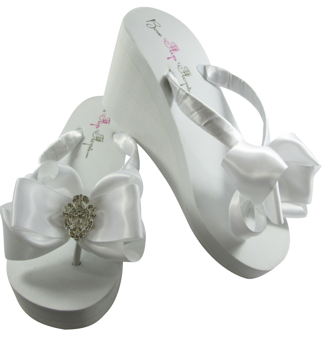 73e19cbd0 Bridal Flip Flops with Vintage Flower   Lace Embellishments