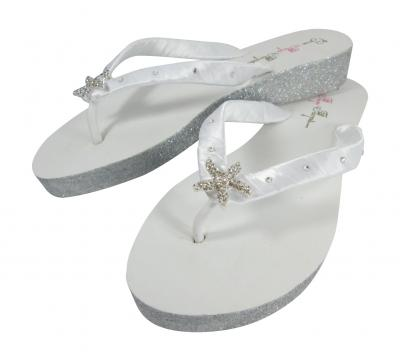 Silver Jewel Glitter Wedge White Flip Flops
