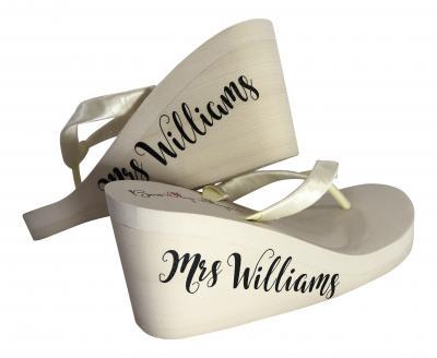 c32c23cc945ad Mrs Last Name on Side of Wedge Bridal Flip Flops