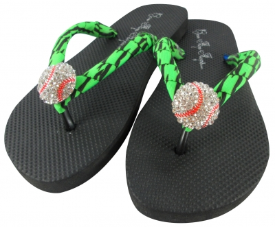 Neon Green Zebra Baseball Bling Flip Flop Sandals