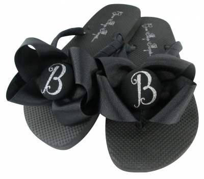 Bridesmaid Flip Flops Black & Silver Glitter Bows/ many colors BMBWB13