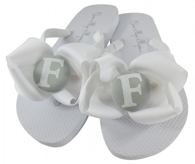 White Bow & Glitter with Gray Bridesmaid Flip Flops- choose colors BMBWB43