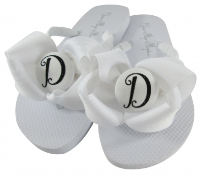 White with Black Script Glitter Bridesmaid Bow Flip Flops