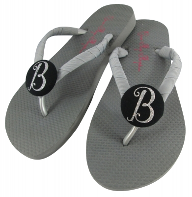 Gray with Black Glitter Bridesmaid Flip Flops /any color  BMIT18