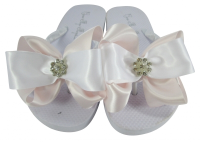Ice Pink Daisy Bling Wedding Flip Flops- many colors