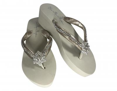 Bridal Flip Flops with Diamond Straps - Round or Choose bling & colors BRDC3