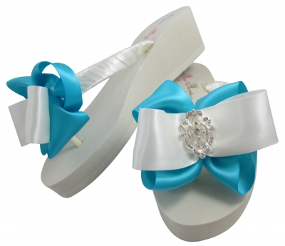 Bridal Flip Flops with Vintage Lace Rhinestone Bows- Turquoise/ Many Color BRLA6