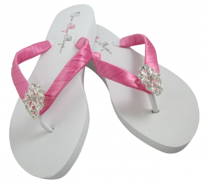 Hot Pink and White Wedge or Flat Lace Sparkly Satin Flip Flops