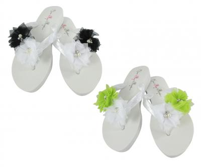 Low Wedge Choose your colors Tulle Flower Flip Flops