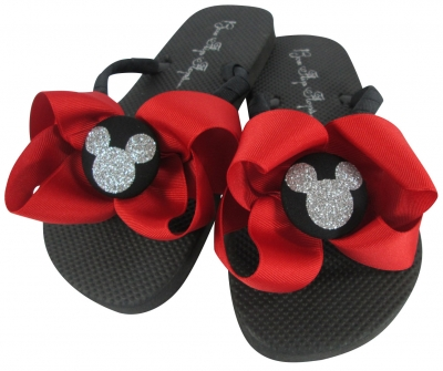 Red and Silver Glitter Disney Bow Flip Flops