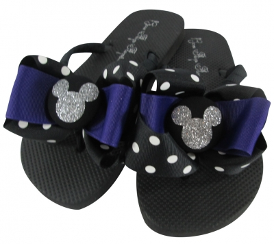 Purple and Silver Glitter Disney Bow Flip Flops