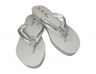 Bridal Flip Flops with Emerald Cut Embellishment & Diamond Straps- Choose the colors & heel height! EC10