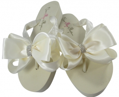 Bridal Flip Flops with Emerald Cut Bling Bows EC4