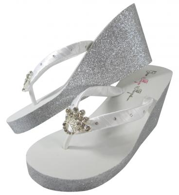 034790f7d Princess Crown Glitter Wedge Flip Flops with Rhinestone Accents