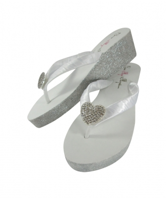 Glitter wedge bridal flip flops , white 2 inch heel with silver glitter and heart embellishment
