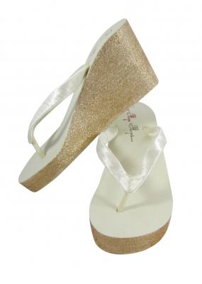 Ivory with Gold Glitter Wedding Wedges -customizable color options
