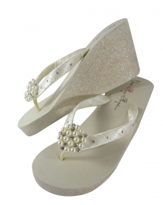 Ivory 3.5 inch wedge flip flops with pearl and crystal rhinestones and champagne glitter