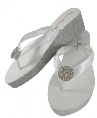 6672ed2ebc48e Round Jewel Glitter Wedge Wedding Flip Flops-Ivory White Heel ...