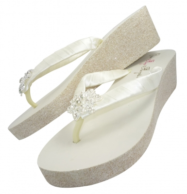 Glitter Wedge Wedding Flip Flops-Vintage Flower- Ivory White Heel ...