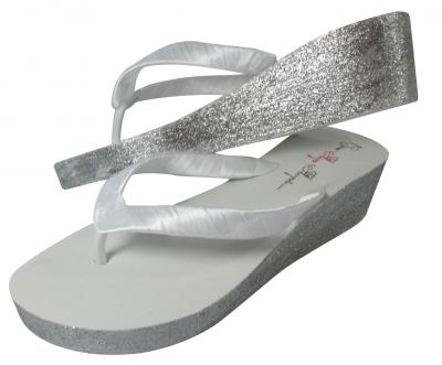 White Glitter 2 inch Wedge Bridal Flip Flops