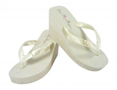 2224ff16b1edd Ivory   Champagne - or choose colors - Glitter Flip Flops with Mrs Last Name  Strap  Bridal Flip Flops   Wedding Flip Flops