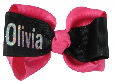 Hot Pink Black and Silver Glitter Sparkle Name Hair Bow Clip