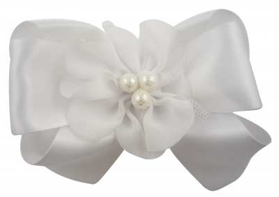 Flower Girl Hair Bow with Chiffon Pearl Flower/ Many Colors