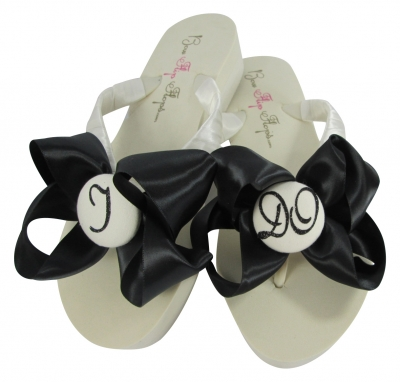 Ivory Wedge Wedding Flip Flops with Black Satin I DO glitter Bows