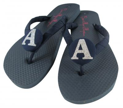 Design your Own Ladies Navy Flip Flops with Glitter Initial Buttons