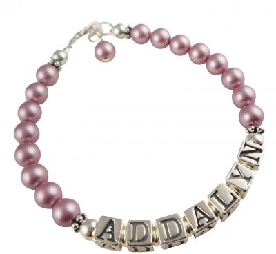 Powder Rose Pearl Name Bracelet for Girls, many colors