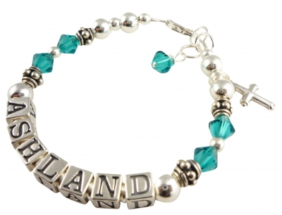 Design your own Child Birthstone Name Bracelet with Charm