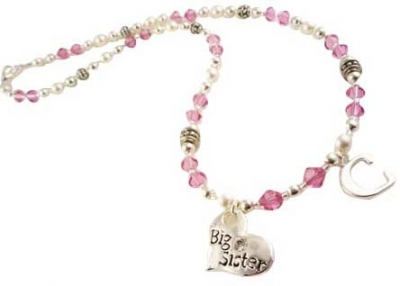 Big Sister Necklace in Pink Crystals