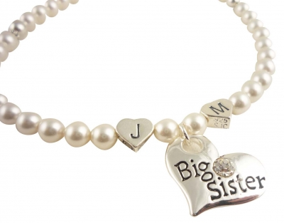 Pearl Big Sister Initial Necklace in White