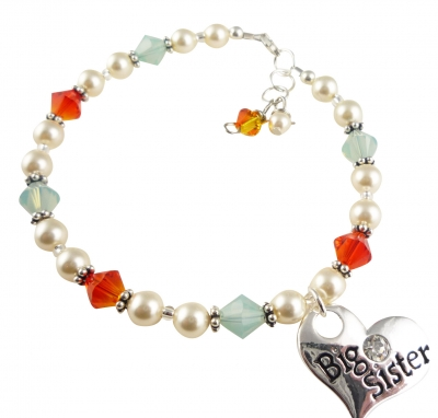 Fire Opal & Pacific Big Sister Charm Bracelet for Girls