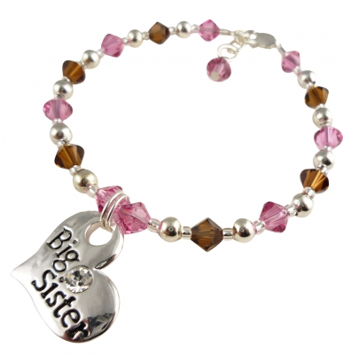 Pink Rose Big Sister Bracelet, Brown Topaz Heart Charm
