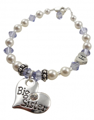 Pearl Sister Bracelet with initial and lavender or any colors