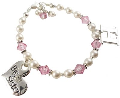 Initial Charm Big Sister Pearl Bracelet light rose or any colors