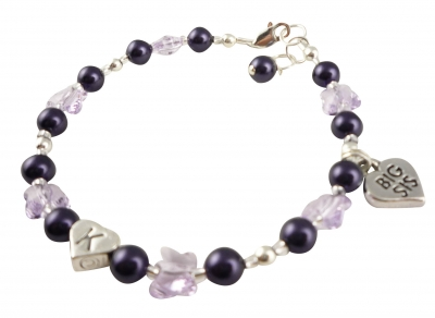 Purple Lil Sis/ Big Sis Butterfly Crystal Charm Bracelet: choose colors JWSIS43