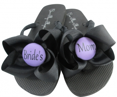 Purple/Black / any color Bride's Mom Flip Flops with Bows MOBG21