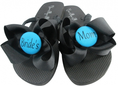 Bride's Mom Flip Flops with Bows /Turquoise & Black/ any color MOBG22