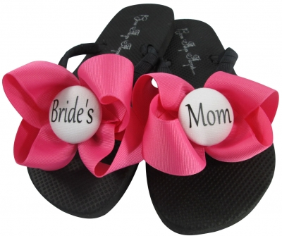 Hot Pink, Black & White Bride's Mom Flip Flops with Bows MOBG26