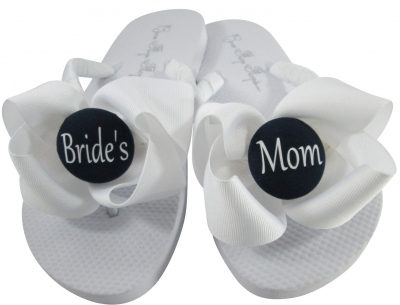 White Bow /Black Button Bride's Mom/Groom's Mom Flip Flops, Choose your Colors MOBG33